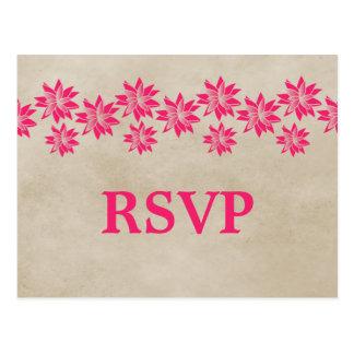 Postal floral rosada de RSVP del vintage
