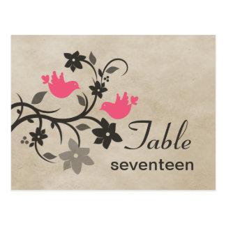 Postal floral rosada del número de la tabla de los