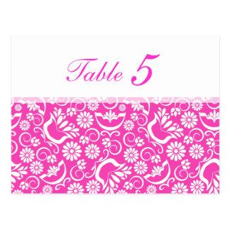 Postal floral rosada del número de la tabla del vi