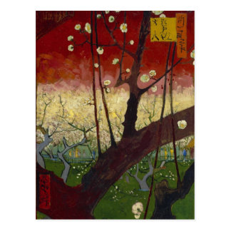 Postal floreciente del árbol de ciruelo