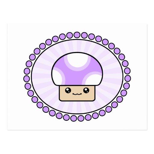 Postal fofa de la púrpura de la seta de Kawaii de