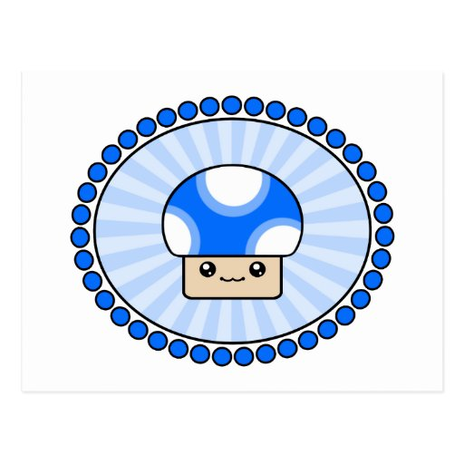 Postal fofa del azul de la seta de Kawaii de los s