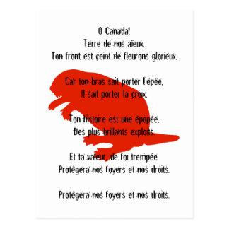 Postal francesa blanca roja del himno del castor d