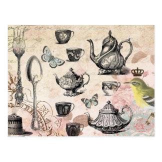 Postal francesa de la fiesta del té del jardín del