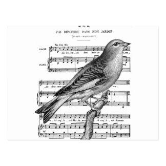 Postal francesa de la música de la canción del páj