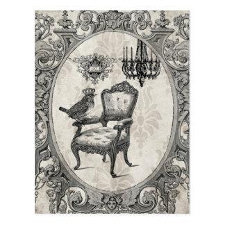 Postal francesa de la silla del vintage