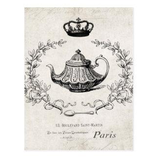 Postal francesa de la tetera del vintage