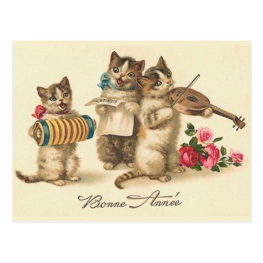 """Postal francesa del Año Nuevo del vintage de """"Bonn"""