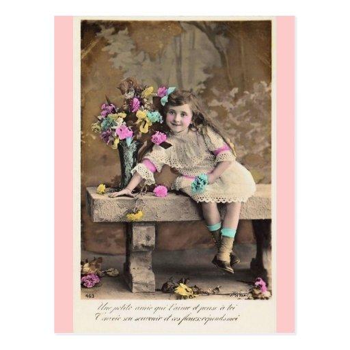 Postal francesa del chica del pequeño Victorian li