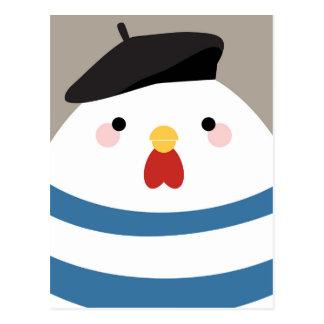 Postal francesa linda del ejemplo de la gallina de