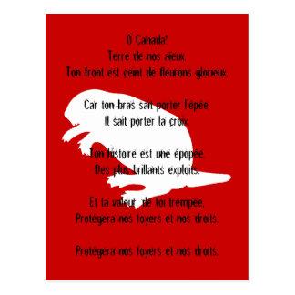 Postal francesa roja blanca del himno del castor d