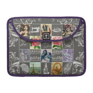 Postal French vintage collage stamped postmarked Sleeve For MacBook Pro