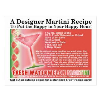 Postal fresca de la receta de Martini de la sandía