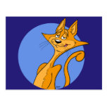 Postal fresca del gato del dibujo animado