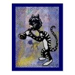 Postal fresca del gato del jazz del callejón