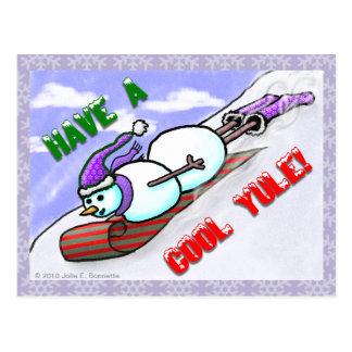 Postal fresca del muñeco de nieve de Yule