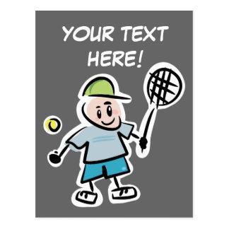 Postal fresca del tenis con el dibujo animado