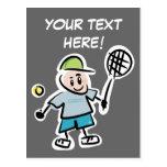 Postal fresca del tenis con el dibujo animado agra