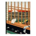 Postal: Gato en ventana por el 歌川広重 de Hiroshige