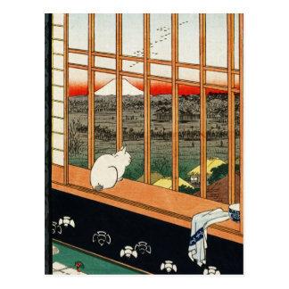 Postal Gato en ventana por el 歌川広重 de Hiroshige