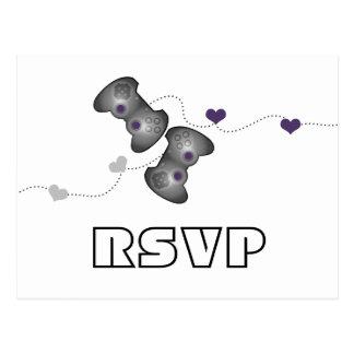 Postal Geeky de RSVP de los videojugadores (plata/