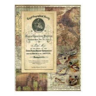 Postal geográfica real del collage de la sociedad