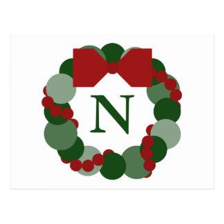 Postal geométrica de la guirnalda del navidad con
