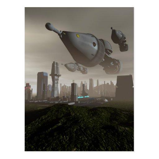 Postal gigante de la llegada 2 de la nave espacial