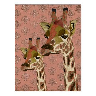 Postal glamorosa de las jirafas de Rosa