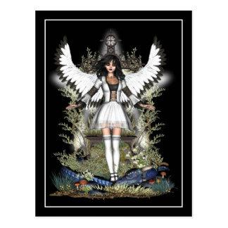 Postal gótica - ángel blanco y dragón