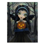 Postal gótica de Halloween del vampiro de maderas