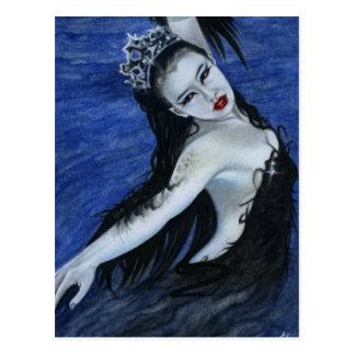 Postal gótica de la belleza del cisne negro