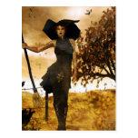 Postal gótica de la bruja del otoño del chica