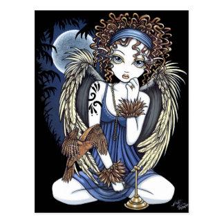 Postal gótica del arte del ángel del pájaro del ac