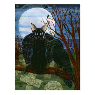 Postal gótica del arte del cuervo del gato negro