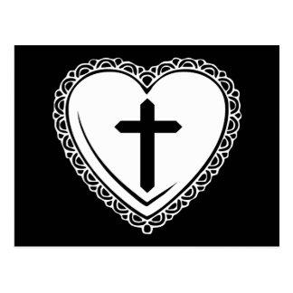 Postal gótica del corazón y de la cruz (negro y