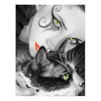 Postal gótica del gatito del chica