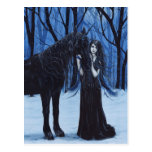 Postal gótica del unicornio y de la hada