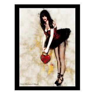 Postal gótica Hearted negra del arte
