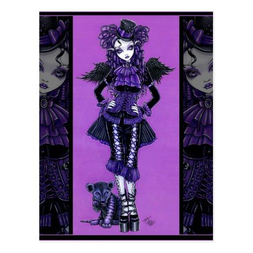 Postal gótica púrpura del ángel del Victorian del