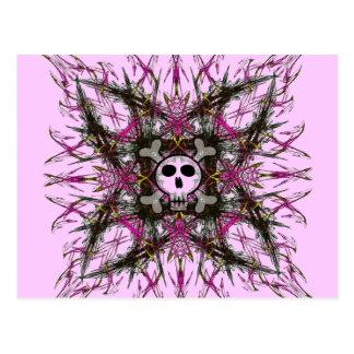 Postal gótica rosada del fractal del cráneo