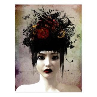 Postal gótica surrealista del arte de los pensamie