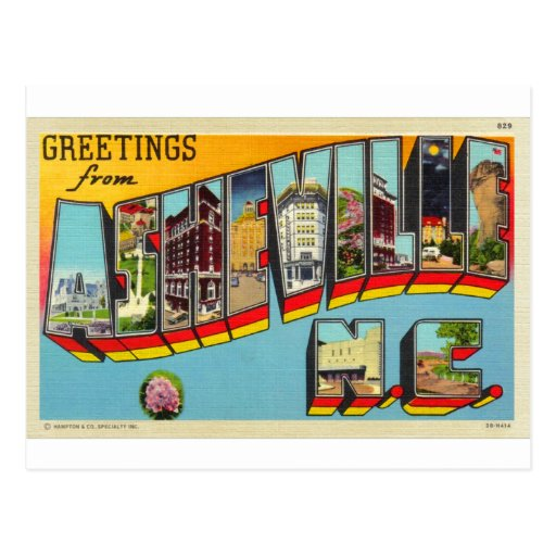 Postal grande de la letra de Asheville del kitsch