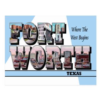 Postal grande de la letra de Fort Worth Tejas
