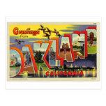 Postal grande de la letra de Oakland del kitsch re
