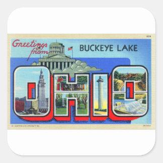 Postal grande de la letra de Ohio del kitsch retro Pegatina Cuadrada