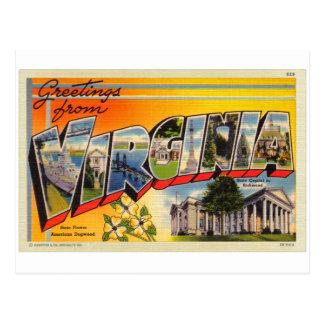 Postal grande de la letra de Virginia del kitsch