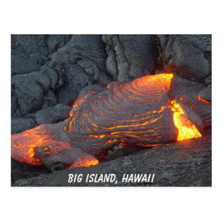 Postal grande del flujo de lava de la isla