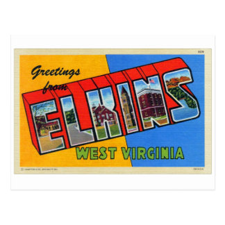 Postal grande retra de la letra de Elkins WV del