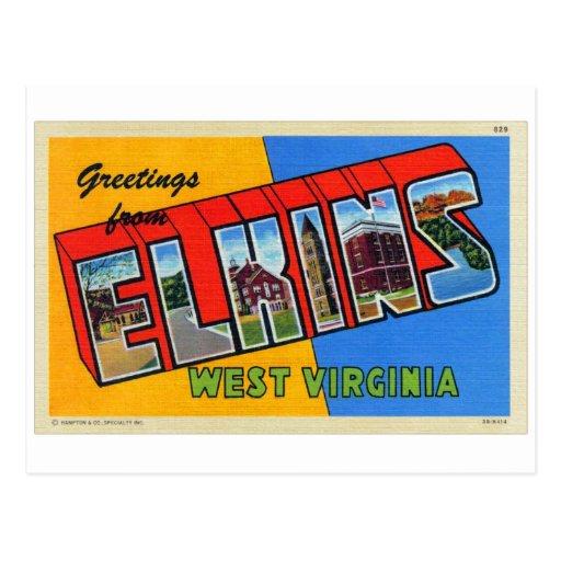 Postal grande retra de la letra de Elkins WV del k